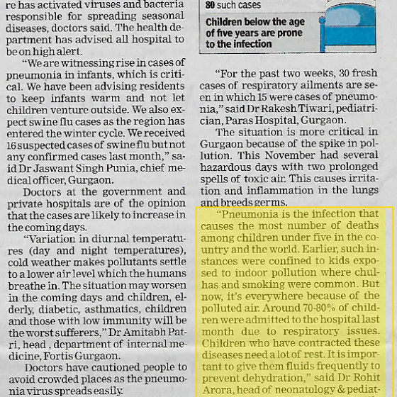 Dr. Rohit Aroraarticle in The Times of India on '60% rise in pneumonia cases as winter kicks'