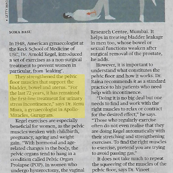 "Dr. Renu Misra article in The Hindu on ""Kegel Workout"""