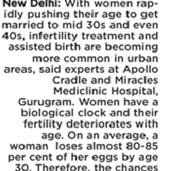 """Dr. Renu Misra in The Asian Age on """"Delayed marriages prone to infertility"""""""