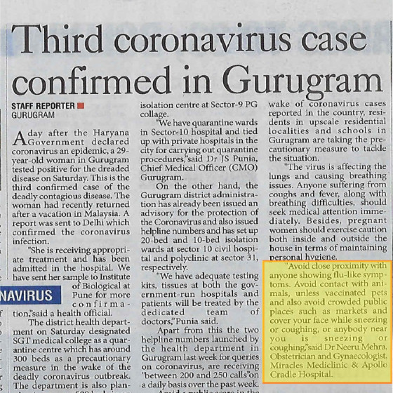 "Dr. Neeru Mehra in The Pioneer on ""Third coronavirus case confirmed in Gurugram"""