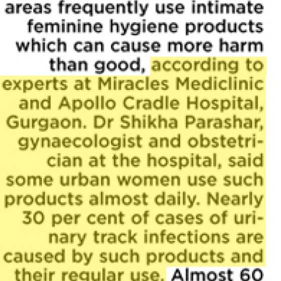 Dr. Shikha Parashar article in The Asian Age on 'Intimate hygiene products harmful'