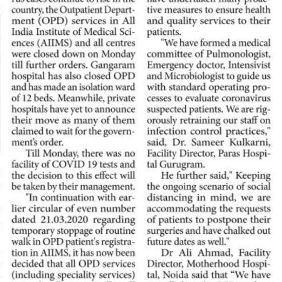 "Dr. Chetna Jain in Millennium Post on ""AIIMS suspends OPD, private hospitals yet to announce stand"""