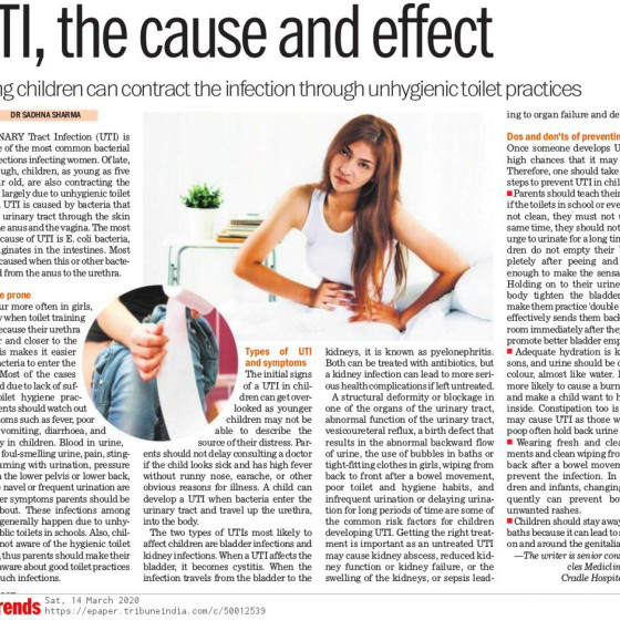 "Dr. Sadhna Sharma in The Tribune on ""UTI, the cause and effect"""